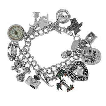 Multi Charm Sterling Silver Bracelet