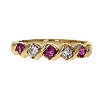 Alternating Ruby & Diamond Band