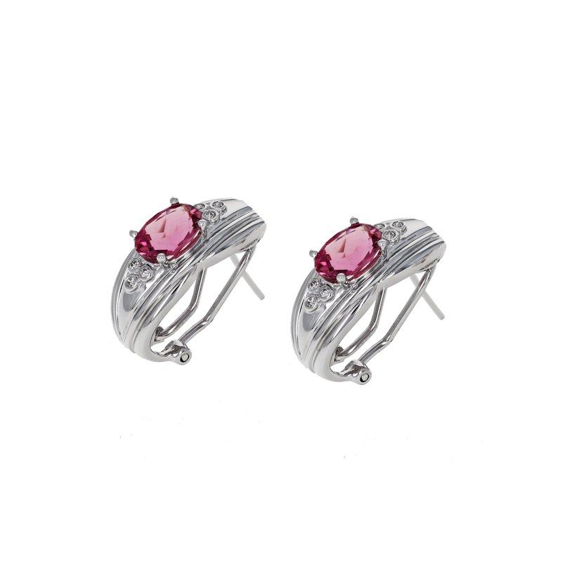 Estate Radcliffe Pink Tourmaline & Diamond Earrings
