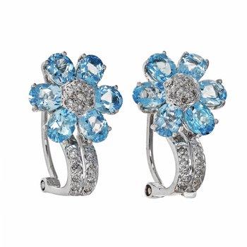 Diamond & Blue Topaz Flower Earrings