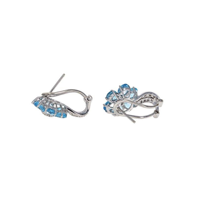 Estate Radcliffe Diamond & Blue Topaz Flower Earrings