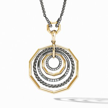 Stax Black and Gold Medium Pendant Necklace with Diamonds