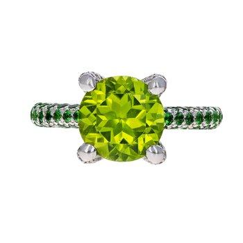 Peridot, Tsavorite Garnet, & Diamond Ring