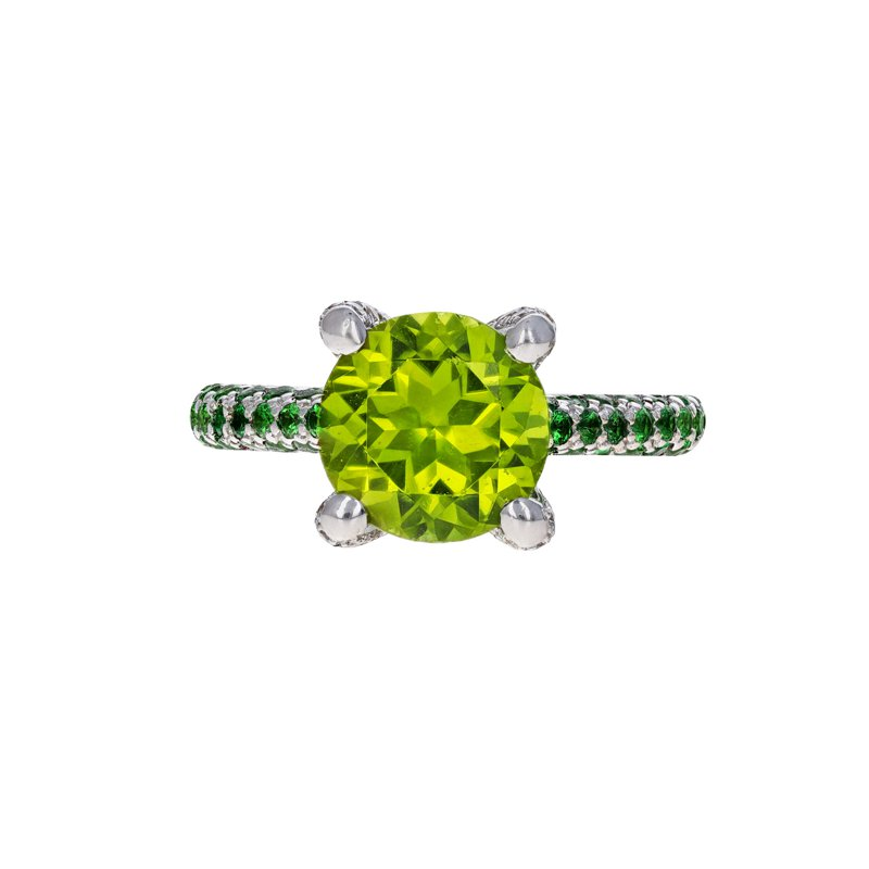 Estate Radcliffe Peridot, Tsavorite Garnet, & Diamond Ring