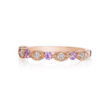 Diamond & Pink Sapphire Wedding Band
