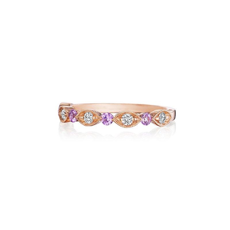 Henri Daussi Diamond & Pink Sapphire Wedding Band