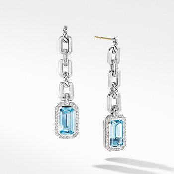 Novella Chain Link Drop Earrings with Blue Topaz and Pave Diamonds