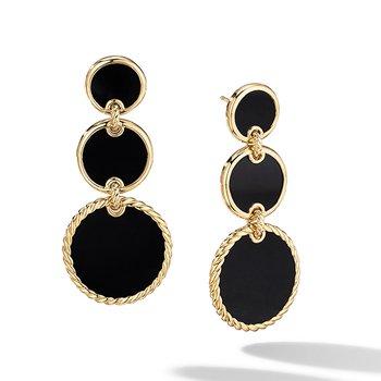 DY Elements Triple Drop Earrings in 18K Yellow Gold with Black Onyx