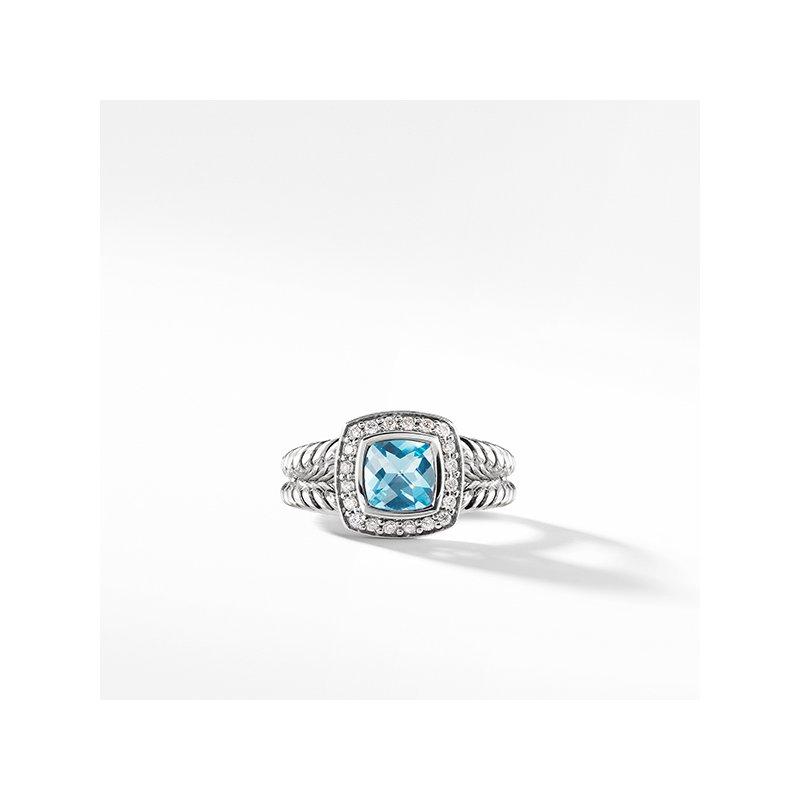 David Yurman Petite Albion Ring with Blue Topaz and Diamonds