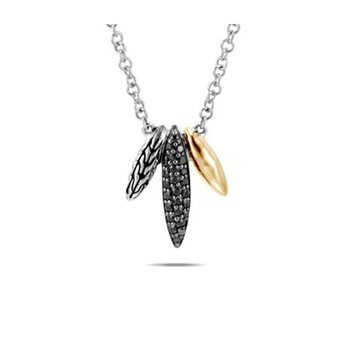 Classic Chain Spear Pendant Necklace, Black Sap