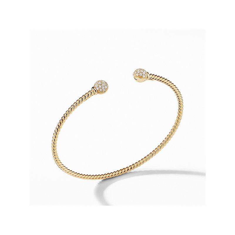 David Yurman Petite Solari Bead Bracelet with Diamonds in 18K Gold