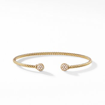 Petite Solari Bead Bracelet with Diamonds in 18K Gold