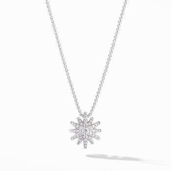 Starbust Pendant Necklace in 18K White Gold with Pave Diamonds