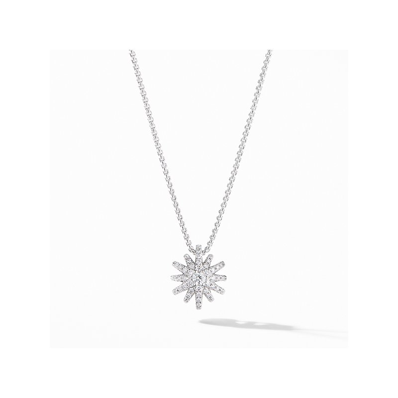David Yurman Starbust Pendant Necklace in 18K White Gold with Pave Diamonds