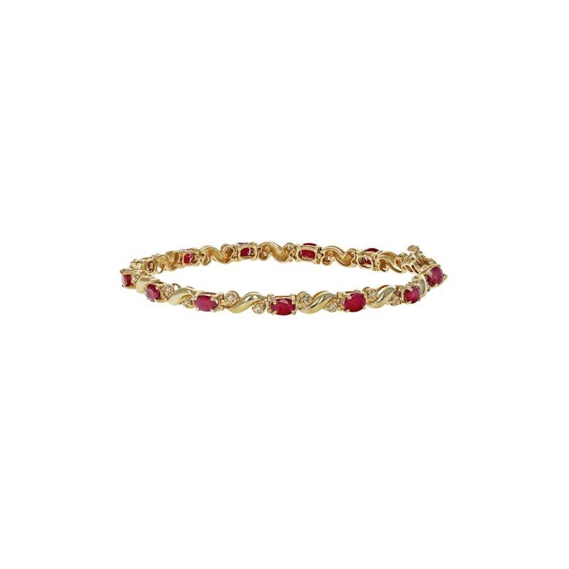 Estate Radcliffe Diamond & Ruby Tennis Bracelet