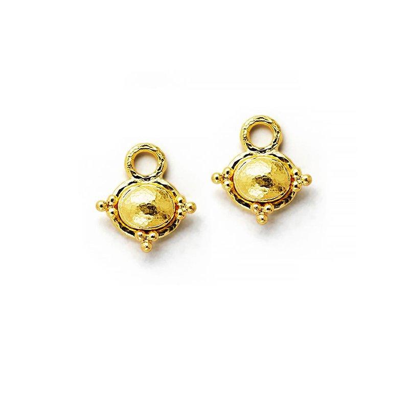 Elizabeth Locke Gold Oval Earring Pendants