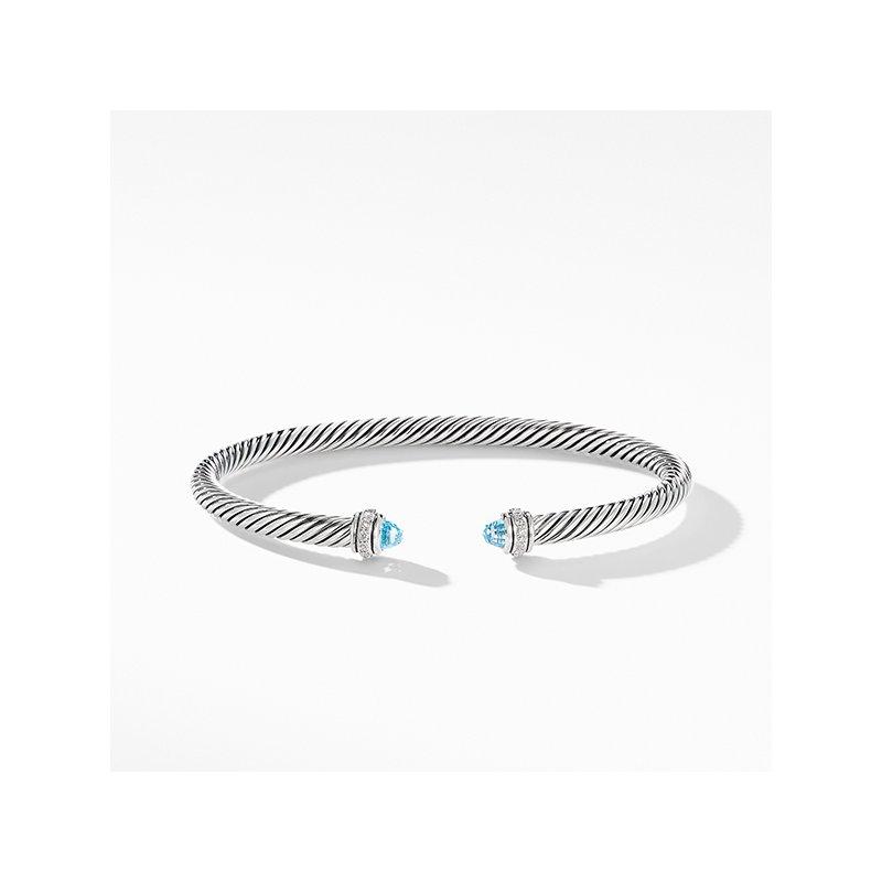 David Yurman Cable Classic Bracelet with Blue Topaz and Diamonds
