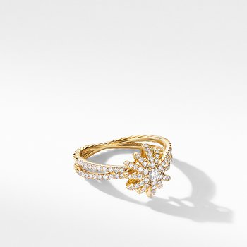 Starbust Ring in 18K Yellow Gold with Pave Diamonds