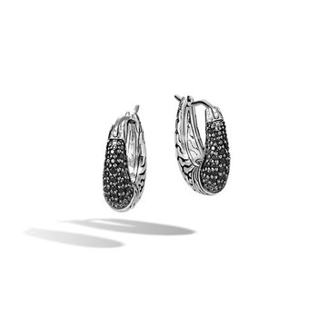 Classic Chain Hoop Earrings with Black Sapphire, Black Spinel