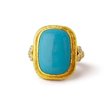 Sleeping Beauty Turquoise Ring with Diamond Triads