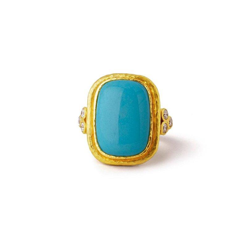 Elizabeth Locke Sleeping Beauty Turquoise Ring with Diamond Triads