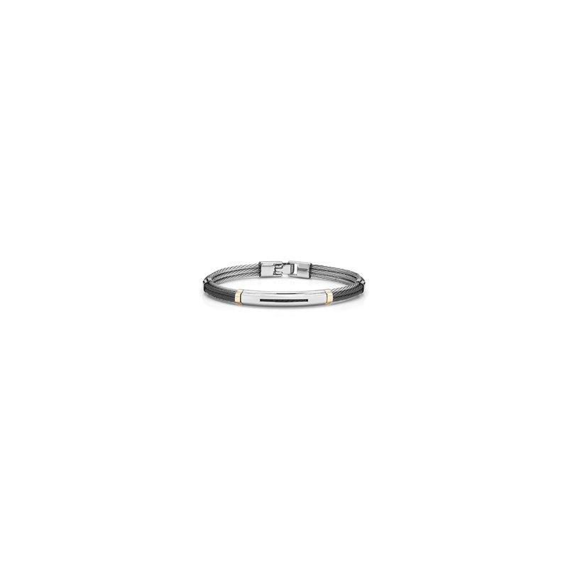 ALOR Black & Grey Cable Bracelet