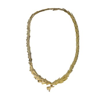 Olive Branch Leaf Collar Necklace