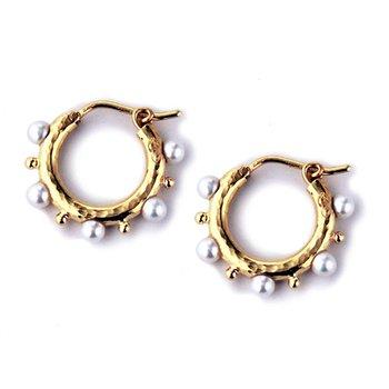 Big Baby Pearl Hoop Earrings