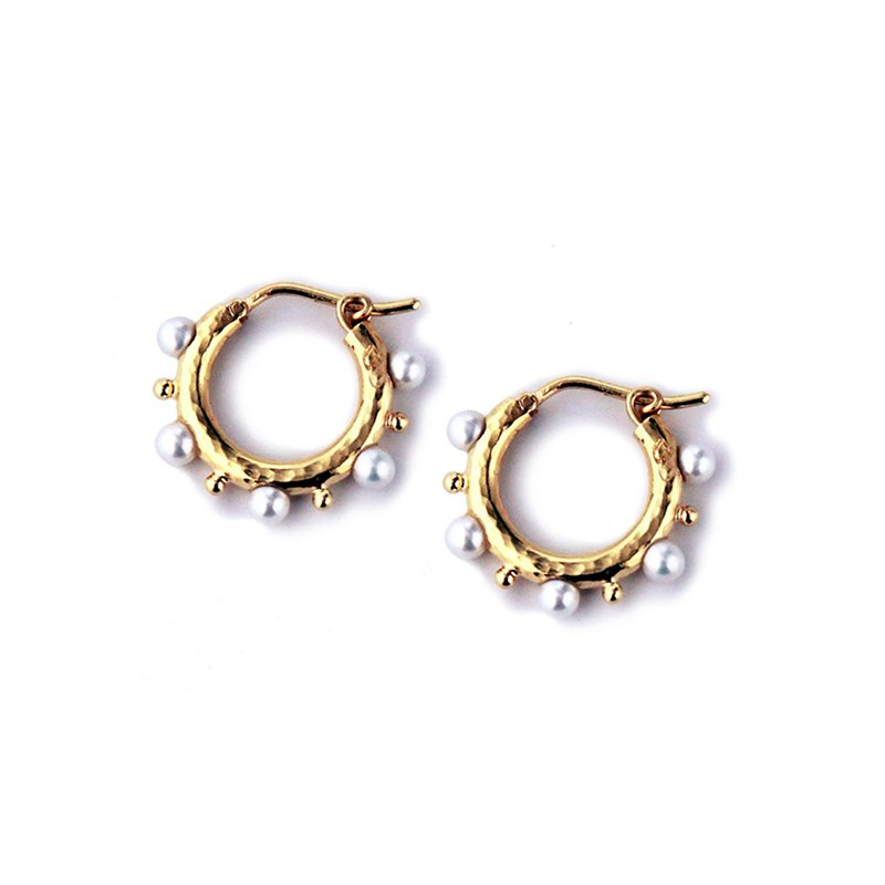 Elizabeth Locke Big Baby Pearl Hoop Earrings