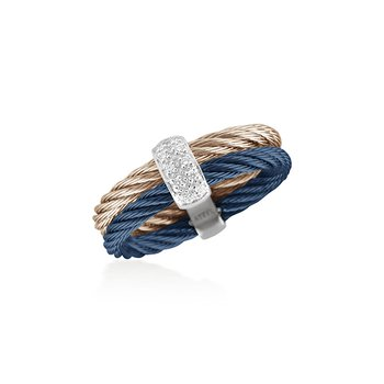 Blueberry & Carnation Double Cable Ring