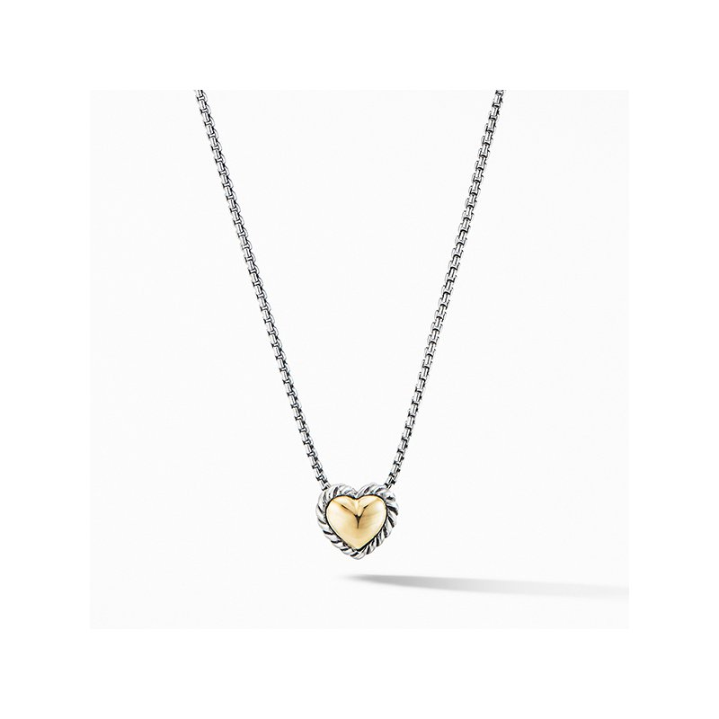 David Yurman Cable Cookie Classic Heart Necklace with 18K Yellow Gold