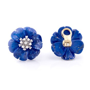 Lapis Lazuli Flower Earrings