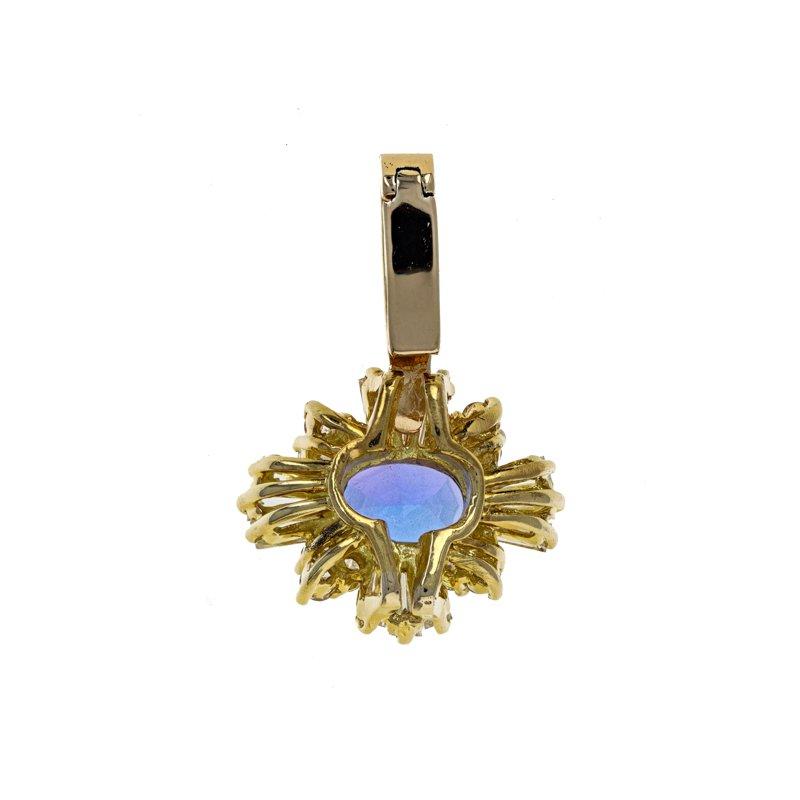 Estate Radcliffe Diamond & Tanzanite Drop Pendant