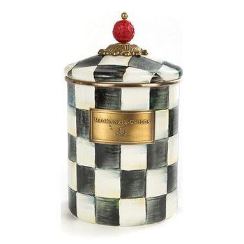 Courtly Check Enamel Canister, Medium