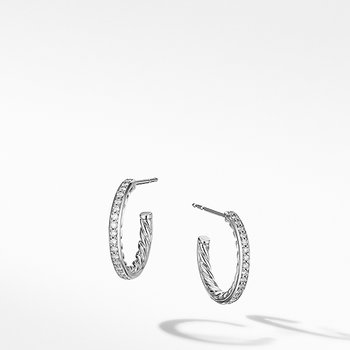 Extra-Small Hoop Earrings in with Pave Diamonds