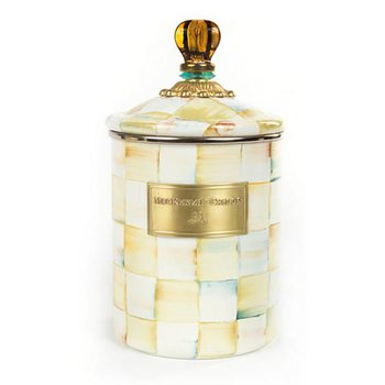 Parchment Check Enamel Canister, Medium