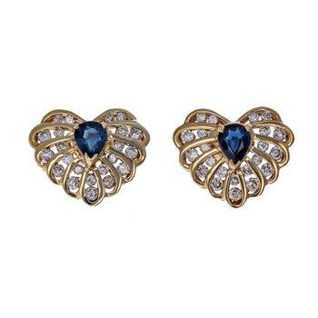 Diamond & Sapphire Heart Sud Earrings