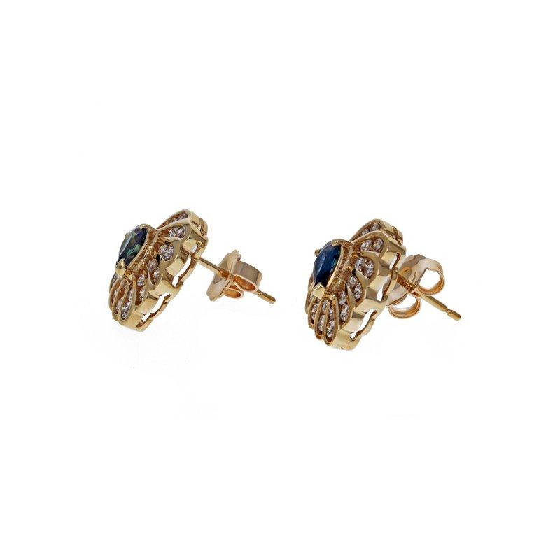 Estate Radcliffe Diamond & Sapphire Heart Sud Earrings