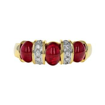Diamond & Ruby Cabochon Ring