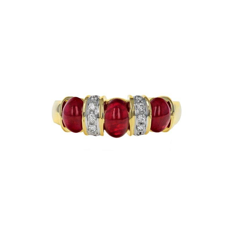Estate Radcliffe Diamond & Ruby Cabochon Ring