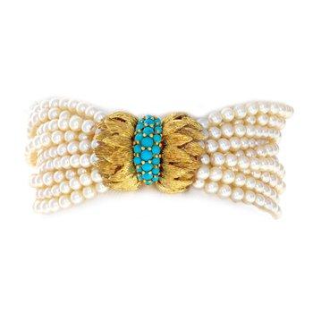 10 Strand Pearl & Turquoise Bracelet