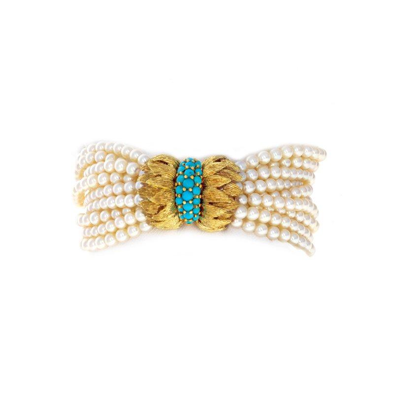 Estate Radcliffe 10 Strand Pearl & Turquoise Bracelet