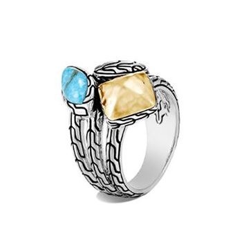 Classic Chain Hammered Ring with Turquoise