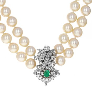 Double Strand Pearl & Diamond Clasp Necklace