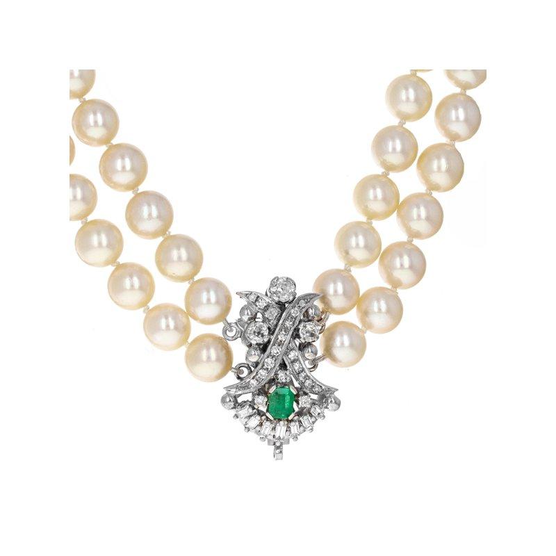 Estate Radcliffe Double Strand Pearl & Diamond Clasp Necklace