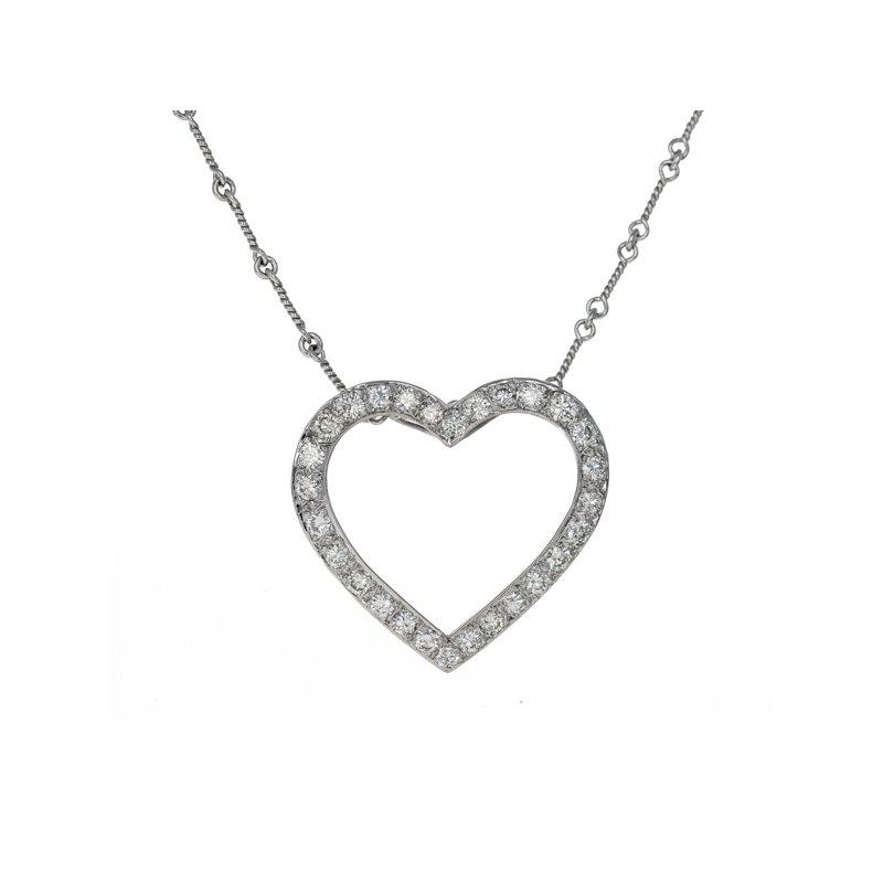 Estate Radcliffe Open Heart Diamond Pendant Necklace