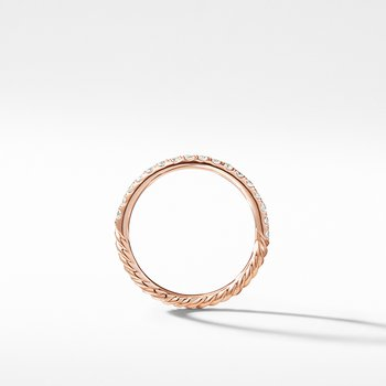 Cable Pave Band Ring in 18K Rose Gold with Diamonds