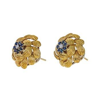 Diamond & Sapphire Domed Flower Earrings