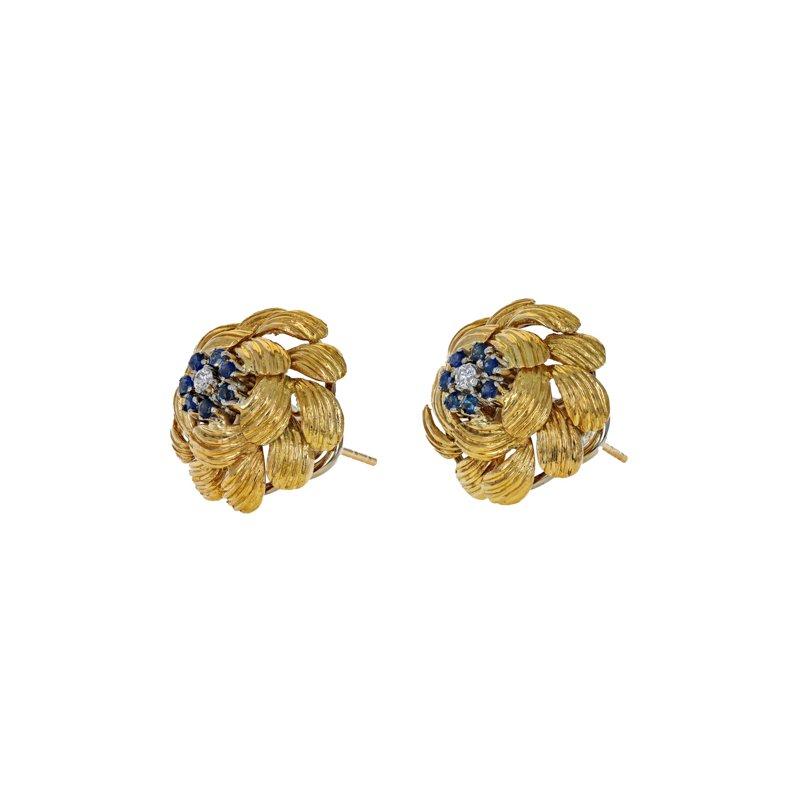 Estate Radcliffe Diamond & Sapphire Domed Flower Earrings
