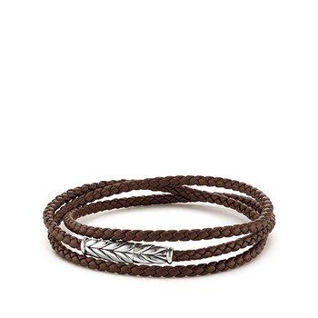 Chevron Triple-Wrap Bracelet in Brown